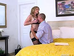 Cory Chase is a prostitute. Her husband asked for sex, but customer was already at home. She opened her bra and asked the customer to suck her boobs. He licked her pussy from behind, grabbed boobs and kissed the nipples hard. She removed his panty and sucked him, before he start drilling her holes.