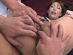 Hunky Japanese playgirl Akari Asagiri receives arsehole and twat finger drilled