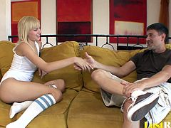 Sometimes all you really need is to relax with a stiff member, and this blonde was in luck since her friend just came over. She was so horny that she had to seduce him while making him plead for more.