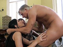 Abbie Cat gives it to lucky man that loves fucking her back porch
