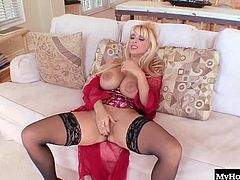 Holly Halston is one hot masturbating MILF with blonde hair, blue eyes and a massive pair of artificial knockers that will be bouncing and swinging while shes busy spreading open her stocking clad legs and sliding her huge dildo into her completely shaved snapper, including giving you a close up of her little butthole and big booty as she gets a climax.