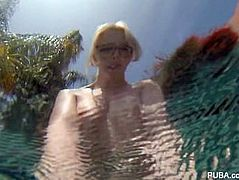 Swimming and masturbation with blonde cutie Samantha Rone