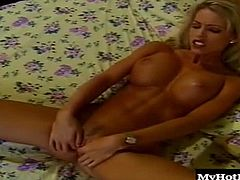 Tabitha Stevens is always horny, so when Tyler found her masturbating vigorously on the pale yellow bed in the guest bedroom of their family summer home, he fed her the cock she needed. His hairy torso turns her on as she gazes up at the older man shoving his cock into her mouth, and then pussy, as she grasps her humongous boobs, letting him jizz all over them.