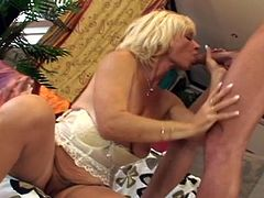 Lili may be old, but she is the same horny slut she used to be in her younger days. No day goes by without playing with her old cunny. Today, she gets more luckier, because a big stud visits her. Click to enjoy the details!