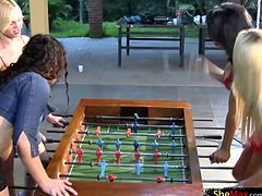 Four trannies enjoyed their table football game and after spending enough time on cock blowing, balls wetting and wet ass exploration, it was time for some serious and extreme anal fucking...