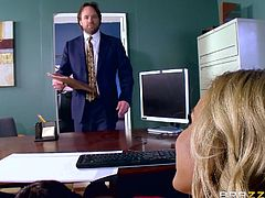 Huge breasts and lust in her eyes, Olivia is a cock thirsty bitch, who always ready to fuck. Her dream fucking happened in her office, when her boss drilled her cunt on the table. Hot busty blonde was enjoying the hardcore fucking.