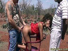 extreme hot african threesome fuck orgy at the wild safari sex tour