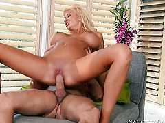 Blonde oriental Preston Parker gets down and dirty in cum flying sex action