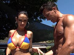 Cougar with massive tits hires a pool guy who will fuck her right