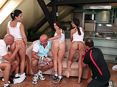 Cunning tennis coach, George Uhl, invited three girls from his team on a serious conversation. He promised them a fine sport prospects, but said, that for the future success they need to pay now, here, with their fresh pussies and firm asses. Strange, but they don't even refused, willingly rubbing their cunts...
