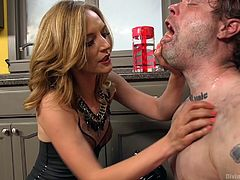 This time Mona Wales shows her domination skills on this skinny guy's ass. I do not know what he did wrong, but she treats him very harshly. Ice sudden shower is a minor, compared to how roughly she fucks his tiny asshole with her huge strapon. Have fun and enjoy rough domination!