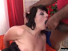Lena has very hairy holes that love getting stretched open by big black cocks. It gives her a lot of pleasure to be the receptacle for his big wad of jizz in the end. His huge black dick hardly fits in her mouth, but he still manages to bust a nut all over her face.