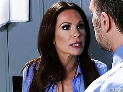 Milf stunner Johnny Sins  Keiran Lee with juicy tits offers her slit to hot guy