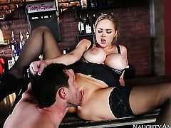 Blonde with gigantic tits and hairless twat had her love box penetrated many times but needs some more