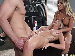 Blonde with big hooters makes a dream of never-ending dick sucking a reality