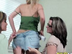 Blonde Brianna Ray touches her snatch playfully