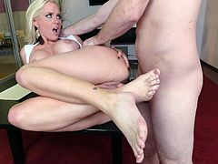 Visit official Footsie Babes's HomepageBlonde mature, Alena Croft, seems quite interested in cracking this lad's huge dick deep and neat into her creamy love holes, all while at work