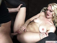 Blonde exotic wench Alli Rae cant resist the desire to take heavy money shot on her face