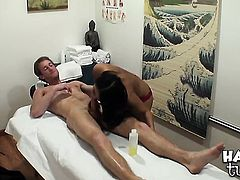 Stacked oriental minx Annie Lee with gigantic jugs and bald twat feels like shes a fuck toy in this interracial action