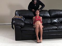 Chillycarlita has a long and unusual name, but she must have impressed Jack somehow. Instead of his home dungeon, the hot Latina babe gets her bondage with the comfort of a fantastic leather couch. She also gets his special vibrating attention, as he kisses her.