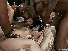Bella Rossi Receives Her Holes Ripped Apart By A Small In Number Dark Men