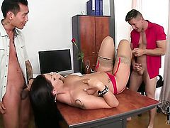 Sheila Grant with big breasts and smooth pussy moves her hand up and down over mans tool