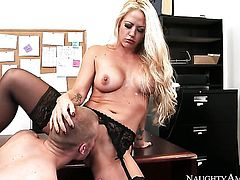 Blonde Richie Black with gigantic breasts and bald beaver shows her love for cum in steamy cumshot action