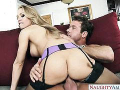 Blonde oriental Nicole Aniston with giant hooters and bald twat has a good time jerking man off