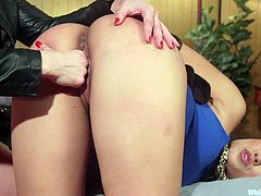 Hot lesbian BDSM action involving busty and big booty Asian milf, Mia Li. She was tied up, while getting her exposed pussy fingered by Lea Lexis. Lea slapped her ass, when the busty blonde is nearing orgasm and she screamed in pain. To know what happened afterwards, don't miss the full video.