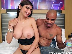 Mia Khalifa is a renowned prostitute with black hair and big boobs. A black guy hired her yesterday. She removed her clothes and went in his room. He grabbed her big boobs, sucked the nipples and started to rub her pussy gently. Then fucked her brutally.