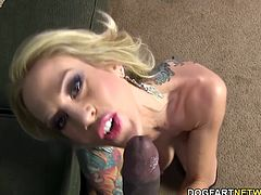 Sarah Jessie loses her table manners at the very point Prince's big black cock slivers its way down her throat. Prince puts the icing on the cake by blowing a load down the same mouth that just took several others.