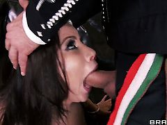Brunette chica with massive boobs finds him hot and takes his hard man meat in the anal hole