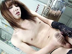 Lustful Asian transsexual moaning as she pleasures her cock
