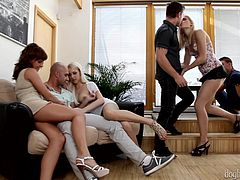 A sexy redhead and two sexy blondes seduced and persuaded their men to join them in this unforgettable orgy. This intense and hardcore session has kissing, blowjobs, cunt sucking, penis swallowing and lot more than you expect. Finally, they really had great time.