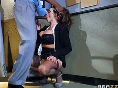 This hot big breasted milf seduced her boss for getting a promotion. She sucked his dick and turned him on. The boss orally fucked her, putting his black dick deep into her throat, sucking on her boobs. At the end, she got her promotion.