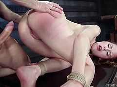 Strangers dragged me in unknown place. I found myself nude and tied with ropes, while they pressed my neck, and spanked me brutally. One of them inserted his cock in my vagina from behind and started to drill hard. He also pushed fingers deep inside my holes and pinched my nipples...