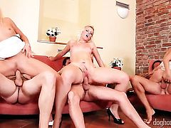 Blonde Barra Brass eat dudes love torpedo with wild desire