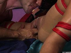Blonde Kathia Nobili enjoys hard sausage in her mouth