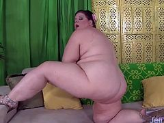 Big titty mature BBW shows each and every inch of her sexy naked body before she fucks her plump pussy with her vibrator and dildos.