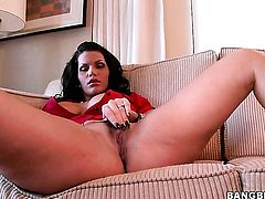 Brunette Angelina Castro with bubbly ass enjoys guys ram rod in her mouth in steamy oral action