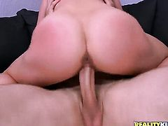 Brunette Lily Love with round booty and bald beaver is ready to spend hours sucking mans love torpedo non-stop