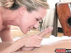 Blonde Lia Lor shows her cock sucking talents in blowjob action with hot fellow
