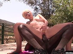 Nora Skyy is a sweet little blonde hanging out by herself