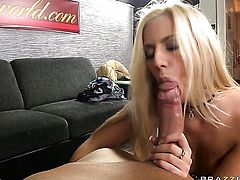 Blonde is curious about oral sex with horny guy