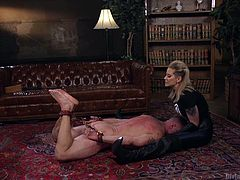 This blonde busty milf's hubby need some refreshing, so Maitresse decided to integrate some BDSM in their sex life. She tied him with ropes and slapped with the whip. He cried, but from pleasure. Blonde mistress humiliated and punished her grateful sex slave to the fullest. He himself selected a strapon for his tight asshole.