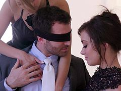 On her husband's birthday, Kimmy Granger wanted to present him a special gift. She blindfolded him and asked her best friend, Gia Paige, to come in. They undressed him, offered him blowjob and sucked his balls. He is lucky to have a life partner, who doesn't hesitate to share her husband.
