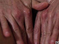 Sexy girl is getting a lusty oil rubbing from sexy hunk