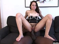 Ashley Woods is a European brunette with a hot slim body and one of the biggest, most massive bushes youll ever see. Its almost out of control as it wraps around her pussy lips, through her legs, and down to her ass. Shes into big black cocks and she opens her hairy bush for some fucking. The massive black cock stuffs her box as full as it will go before it dumps inside to give her a creampie.