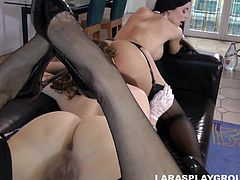 It's not for the pleasure of her partner, but for her own. Lara simply loves big asses, wet juicy pussies, titties with hard nipples and all those lesbian perks. On high heels, in lace gloves and stockings she prefer to take this pleasure slowly, enjoying every single moment. April's pussy tastes good!
