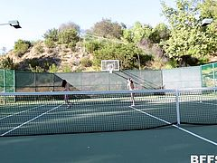horny lesbian threesome on the tennis court